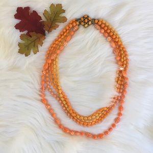 VINTAGE- orange multi strand beaded necklace